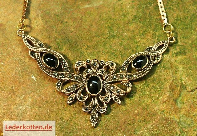 Colliers schmuck  Bronzeschmuck Bronzecollier Halskette Onyx schwarz - Lederkotten